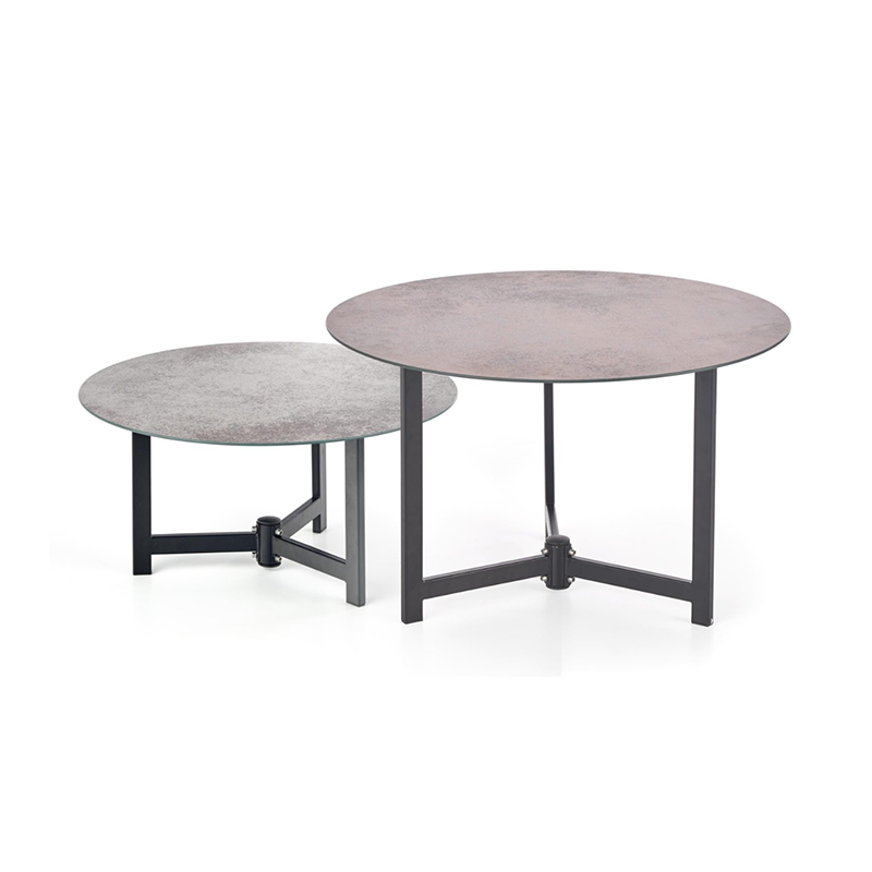 Table Basse Double Pierre Et Metal Magda