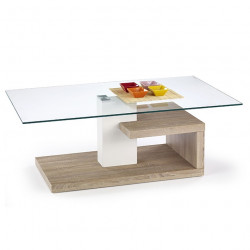 Table basse design blanc et bois Line