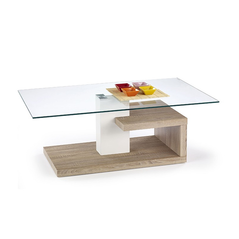 Table basse design blanc et bois line tables basses design for Table basse blanc bois