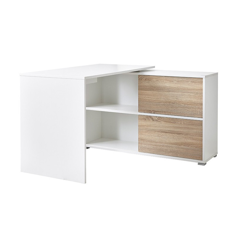bureau d 39 angle blanc leader bureaux design noir et blanc. Black Bedroom Furniture Sets. Home Design Ideas