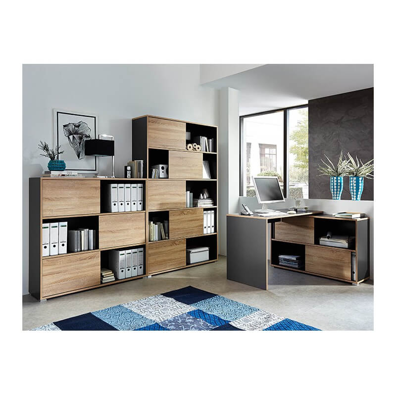 bureau d 39 angle gris leader bureaux design noir et blanc. Black Bedroom Furniture Sets. Home Design Ideas