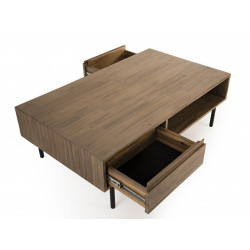 Table basse 2 tiroirs 2 niches Acacia pieds m'tal