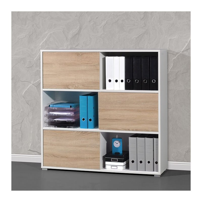 armoire de bureau basse bois et blanc leader. Black Bedroom Furniture Sets. Home Design Ideas