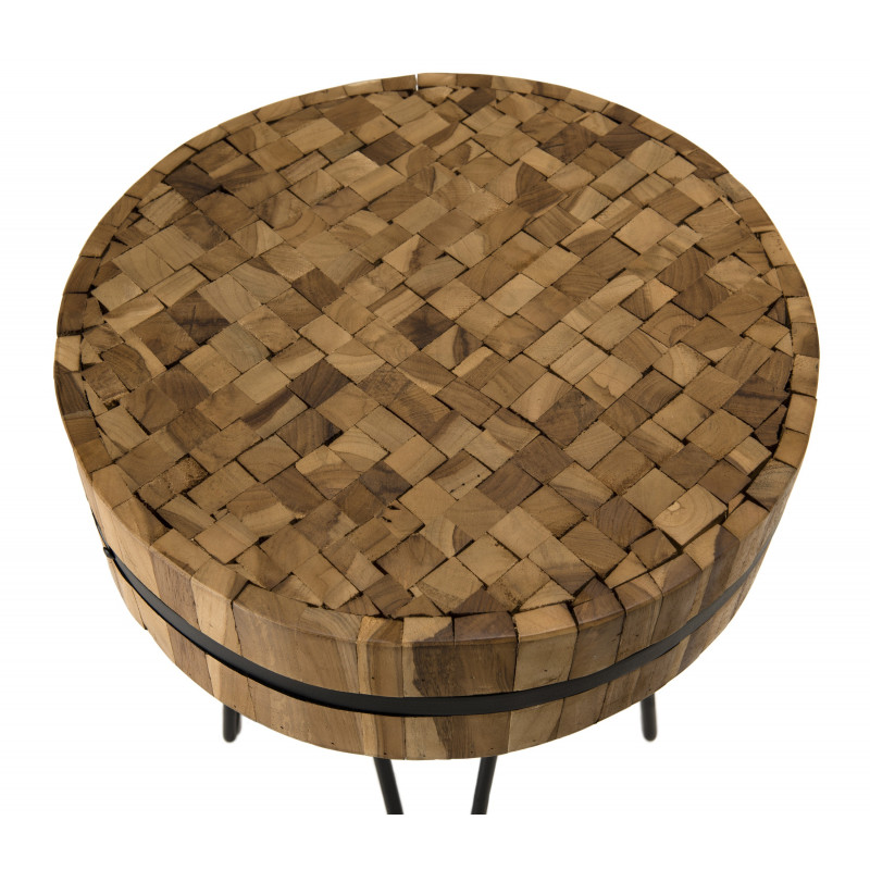 Table d'appoint ronde 45x45cm Teck recycl' cercl'e m'tal pieds 'pingles m'tal