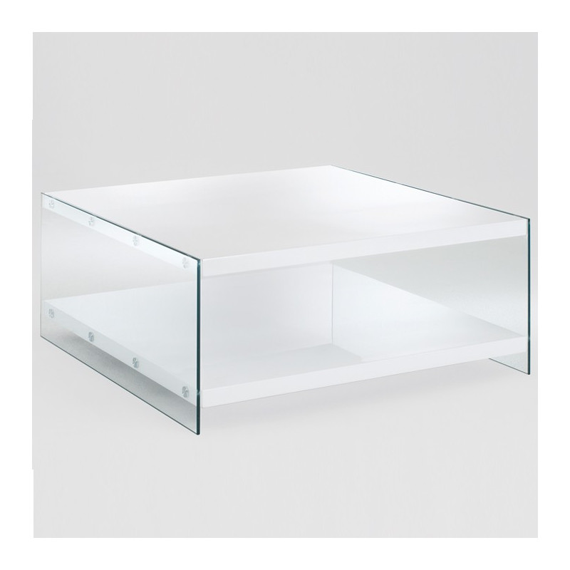 Table basse blanc laqué et verre Athena - Tables basses design