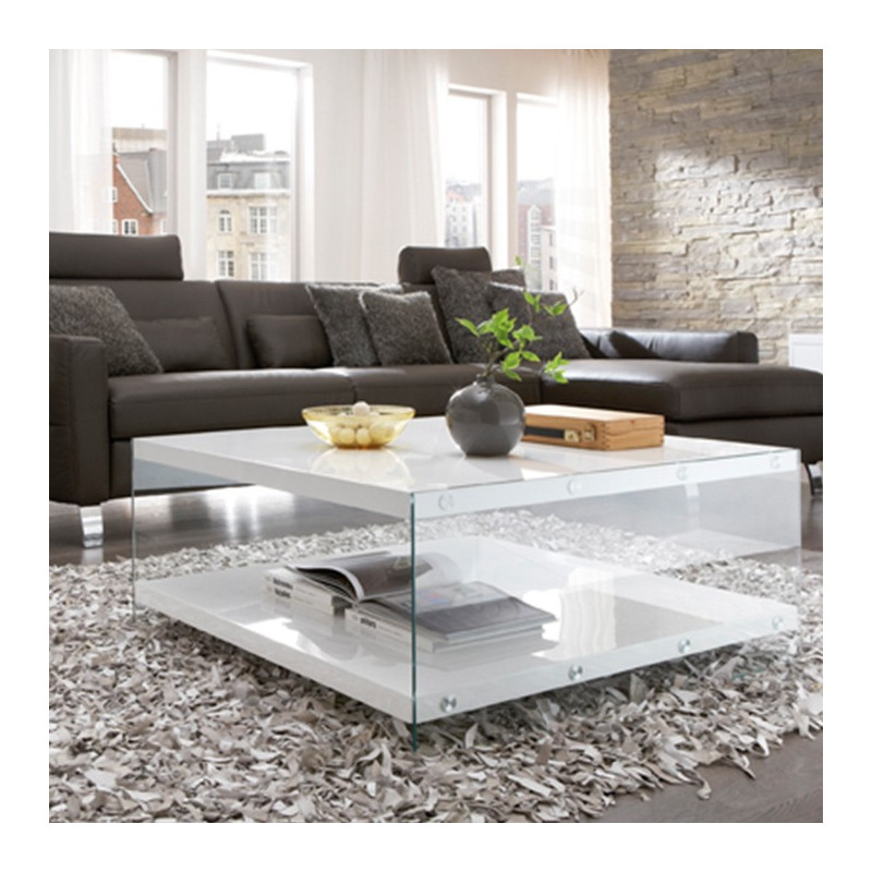 table basse blanc laqu et verre athena tables basses design. Black Bedroom Furniture Sets. Home Design Ideas