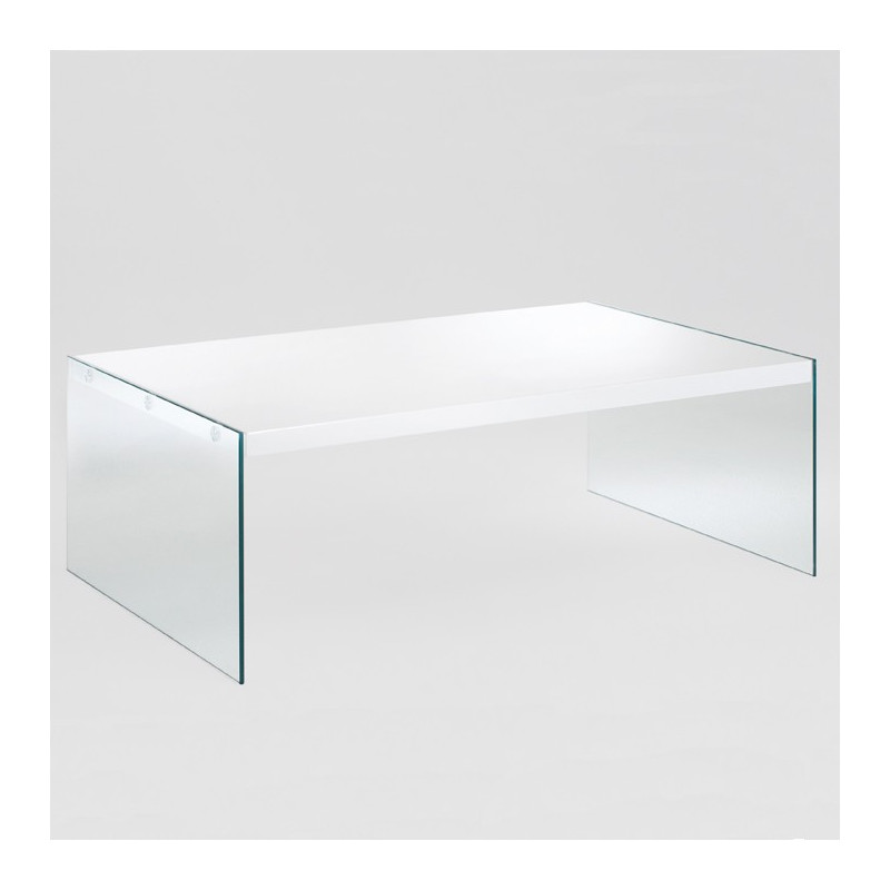 Table basse rectangulaire en verre blanc laqu athena - Table en verre rectangulaire ...