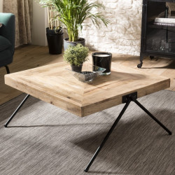 "Table basse carr'e Manguier pieds m'tal ""COMPAS"""