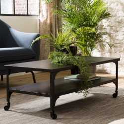 Table basse m'tal noir industrielle double plateau
