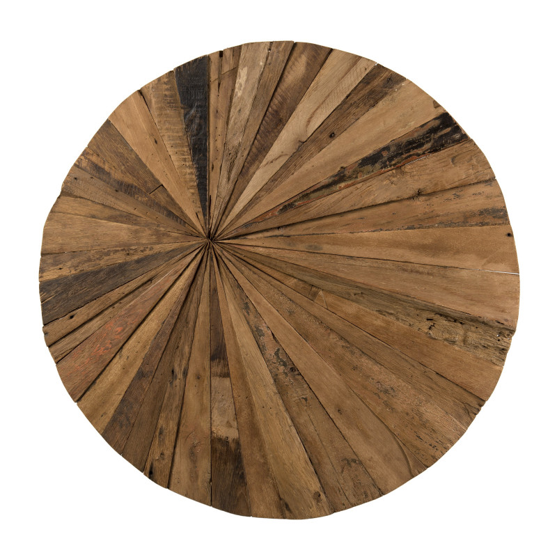 D'coration murale ronde 80x80 Teck recycl'