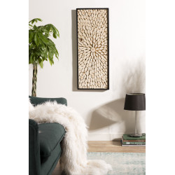D'coration murale rectangulaire 100x40cm branches Teck nature