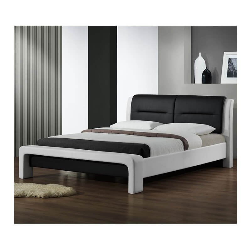 lit avec sommier noir et blanc 160 x 200cm cassy. Black Bedroom Furniture Sets. Home Design Ideas
