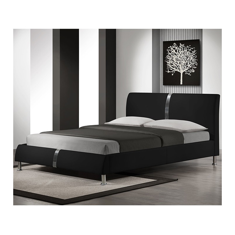lit 160x200cm design noir avec sommier arizona. Black Bedroom Furniture Sets. Home Design Ideas