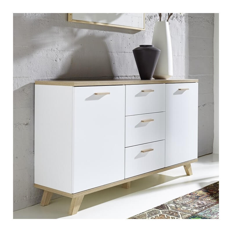 buffet scandinave blanc et bois 2 portes 3 tiroirs malmo. Black Bedroom Furniture Sets. Home Design Ideas