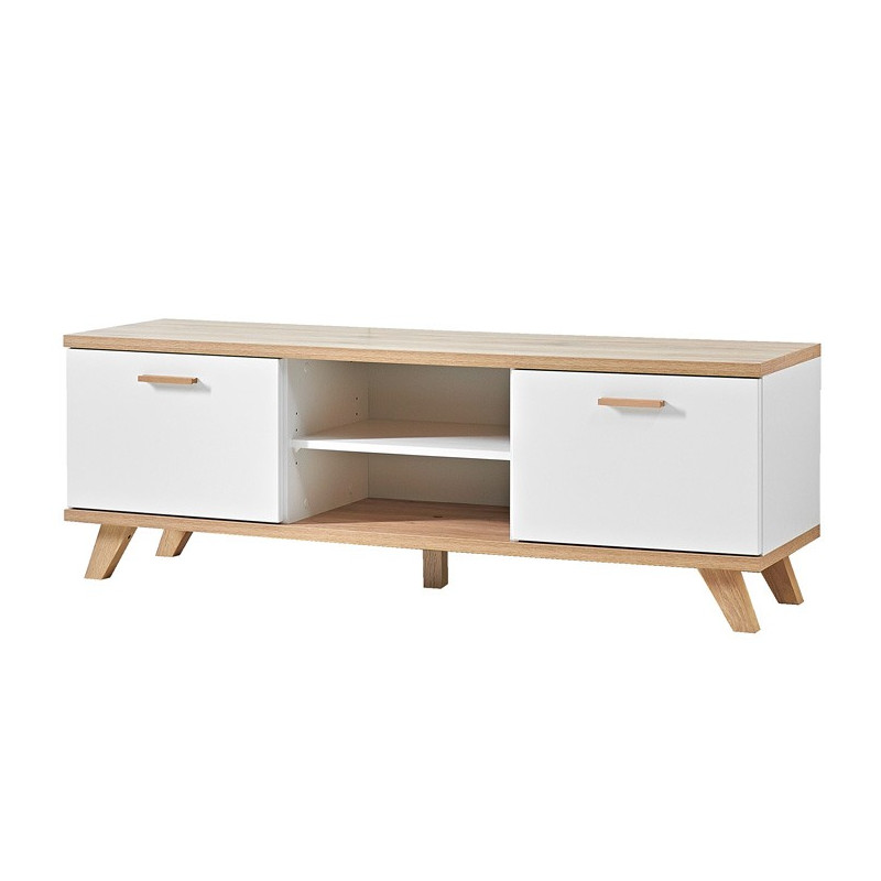 Meuble tv scandinave 2 tiroirs 144x40cm malmo for Meuble tv scandinave 110 cm