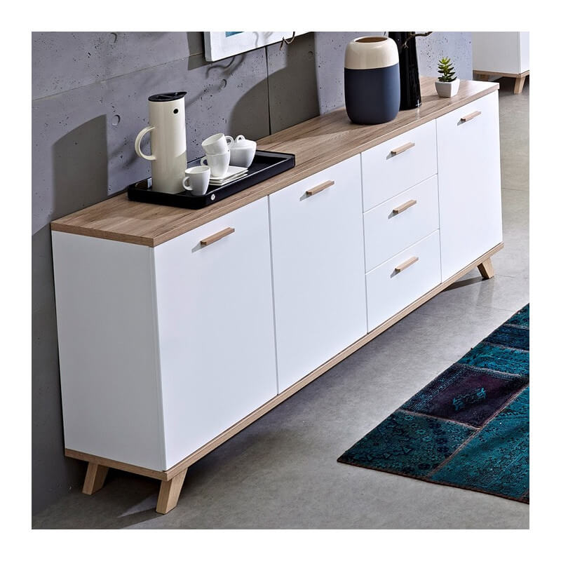 buffet scandinave blanc et bois 3 portes 3 tiroirs malmo. Black Bedroom Furniture Sets. Home Design Ideas
