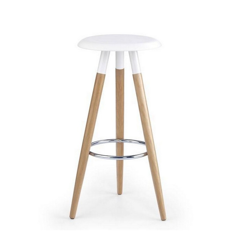 Tabouret scandinave blanc pieds bois stilys for Tabouret bar scandinave