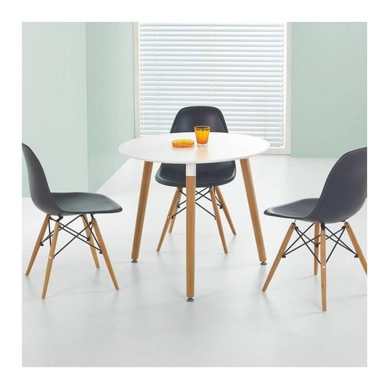 table ronde 80cm blanche scandinave stilys. Black Bedroom Furniture Sets. Home Design Ideas