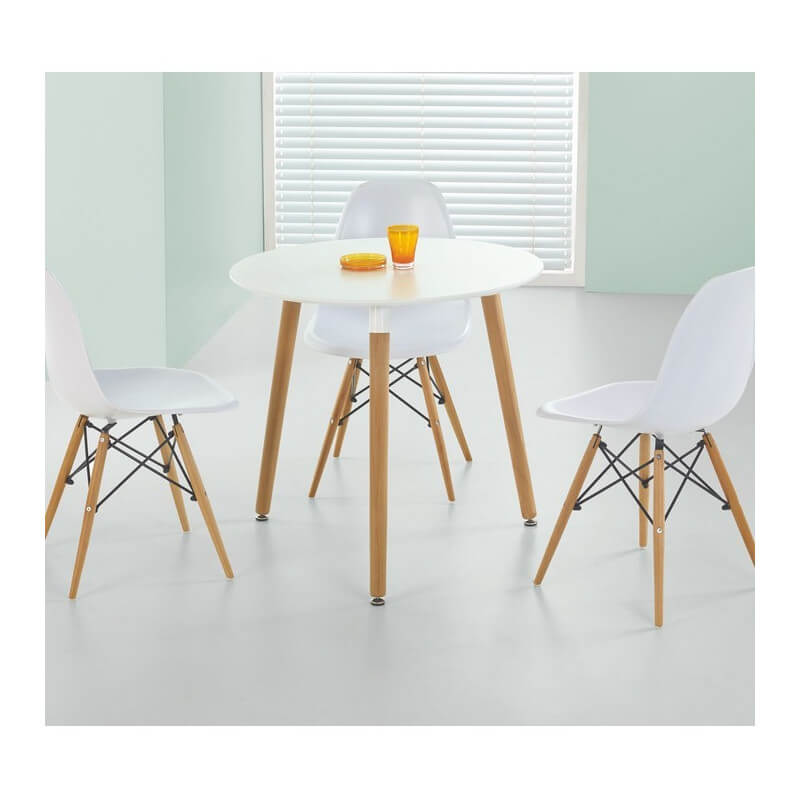 Table ronde 80cm blanche scandinave stilys for Table salle a manger ronde blanche