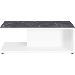 Table basse design blanche et aspect marbre MARBLE