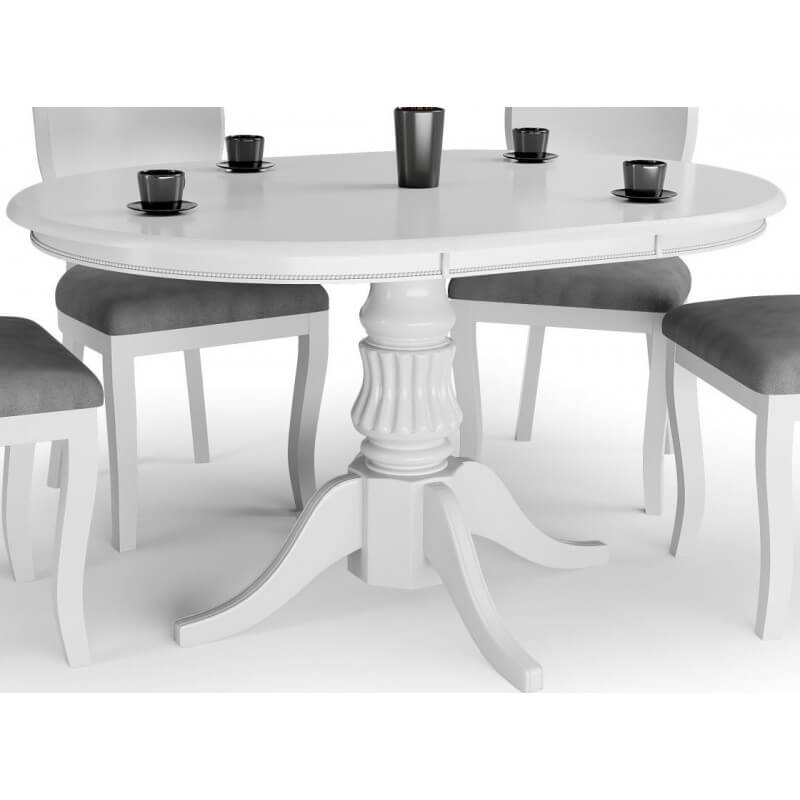 Table Ronde Baroque Blanche 120cm Avec Rallonge Collection Windsor