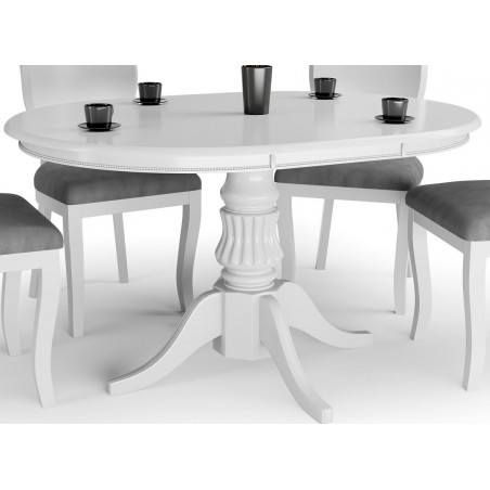 Table blanche ronde extensible avec pied central Windsor