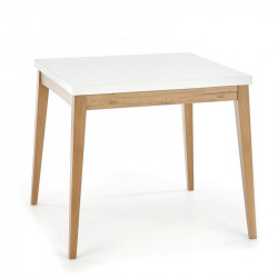 Table carrée scandinave 80x80cm blanche et bois Norway