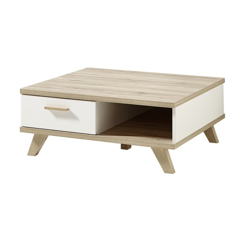 Table basse scandinave carr e 80 x 80cm avec tiroir malmo for Table basse scandinave en chene