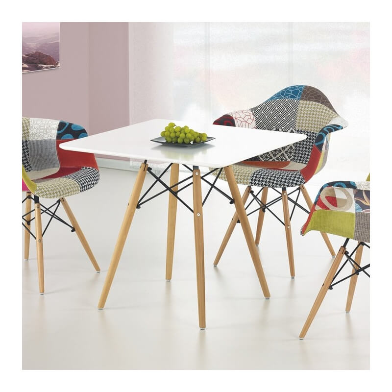 Table salle a manger carree blanche style eames stilys for Table carree 140x140 salle manger