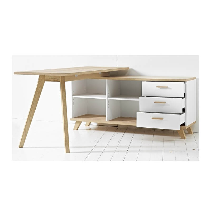 bureau d 39 angle gauche ou droit scandinave avec rangements. Black Bedroom Furniture Sets. Home Design Ideas