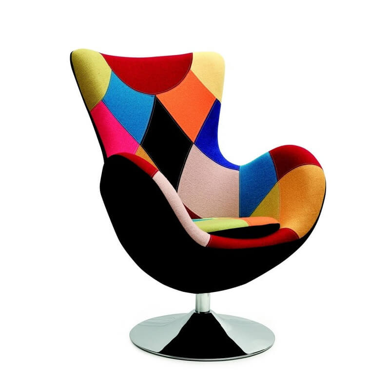 fauteuil oeuf patchwork style arne jacobsen - Chaise Scandinave Multicolore