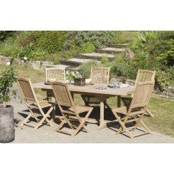 Table rectangulaire extensible 180/240x100x75cm en bois de teck Summer