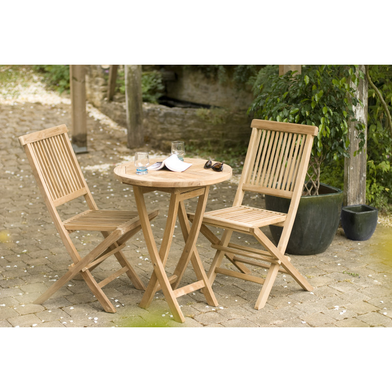 Table ronde pliante 60x60cm en bois de teck Summer