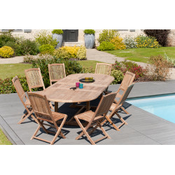 Table ovale double extension 200/300x120x75cm en teck Summer