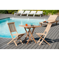 Table de jardin carrée pliante 70x70cm en teck Summer