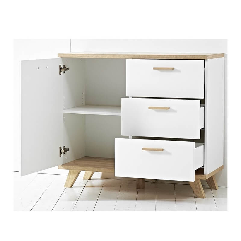 commode scandinave 1 porte 3 tiroirs Malmo