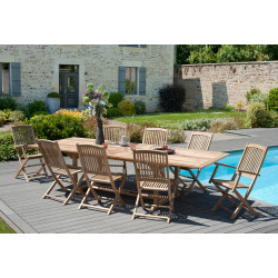 Table de jardin rectangulaire extensible 200/300 x 120 x 75 cm en teck Summer