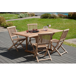 Table de jardin rectangulaire extensible 120/180 x 90 x 75 cm en teck Summer