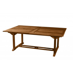 Table de jardin double extension en teck huilé 200/300x120x75cm Thanina