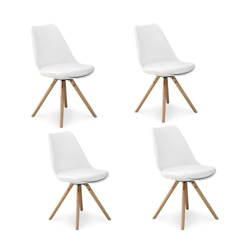 chaises scandinaves design pieds bois malmo lot de 4. Black Bedroom Furniture Sets. Home Design Ideas