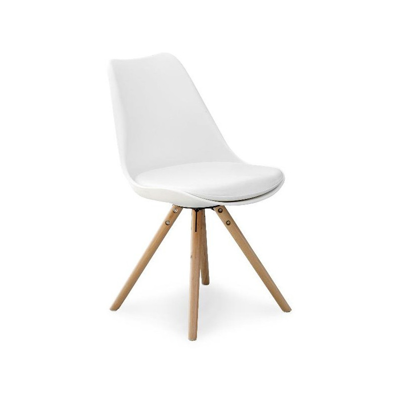 chaise nordique pieds bois assise blanche Malmo