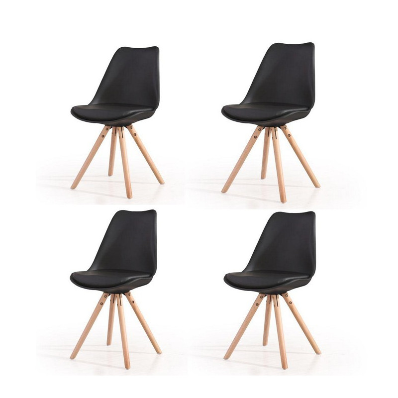 lot 4 chaises scandinaves noires pieds bois hacken. Black Bedroom Furniture Sets. Home Design Ideas