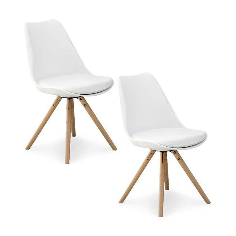 Chaises pieds bois scandinaves malmo lot de 2 for Chaise 3 pieds