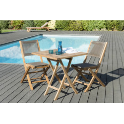 Salon de jardin en teck 2 Places : Table carrée 70 cm & Chaises en textilène taupe Summer