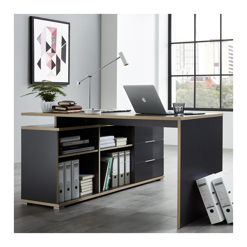 bureau d 39 angle gris et bois mateo. Black Bedroom Furniture Sets. Home Design Ideas