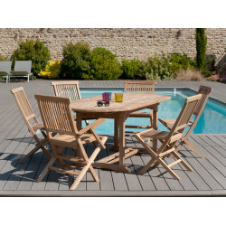 Table ovale extensible en teck 150/200x90x75cm Summer