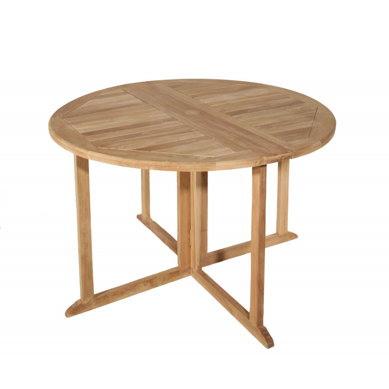 Table ronde en papillon en bois de teck Summer