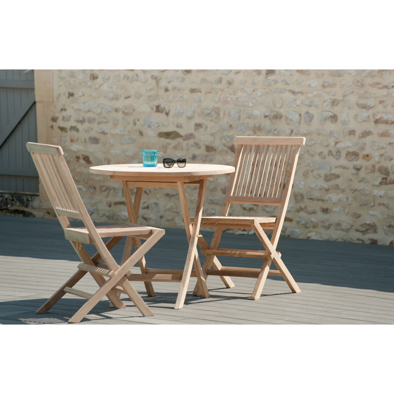 Table ronde pliante 80x80cm en bois de teck Summer