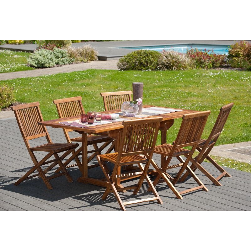 Table de jardin extensible en teck huilé 120/180x90x75cm Thanina