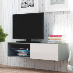 Meuble tv suspendu gris blanc a led Trevise